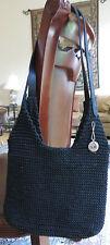 The Sak Originals Black Crochet Knit Hobo Handbag Leather strap Purse Snap close