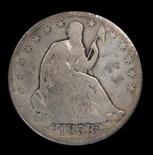 1853 Seated Liberty Silver Half 50C Arrows & Rays Circulated Good *1924