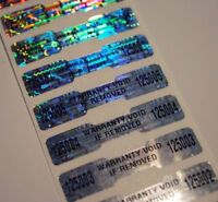 100 High Security Tamper Evident Warranty Void Dogbone Hologram Labels/Stickers