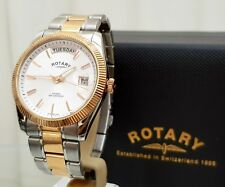 Rotary Mens HAVANA Watch DAY & DATE Rose Good Plated RRP £280 Boxed (r125
