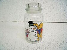 Disney Pooh&Piglet building snowman glass canister/cookie jar with lid Winter