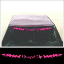 Windshield COWGIRL UP running horse decal for girl jeep truck or trailer in PINK