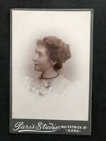 Victorian Photo: Cabinet Card: Pretty Lady Flowers: Paris Studio: Cork