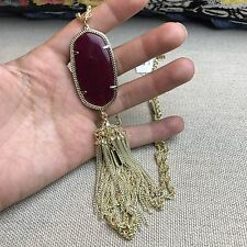 NEW Kendra Scott RAYNE Yellow Gold Plated Tassel Necklace Burgundy Red $80