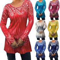 Plus Size Women Long Sleeve Tunic T-Shirt Ladies Crew Neck Summer Casual Blouse