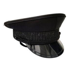 Unisex Army Captain Hat Rhinestone Fancy Dress Cap Police Military Costume