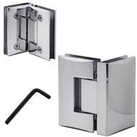 90° Glas Scharnier Pendel Beschlag Vitrine Dusche Tür Verchromt Halterung Set