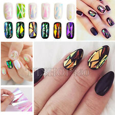 18 Candy Colors Broken Glass Mirror Holographic Nail Foils Decal Sticker Tips
