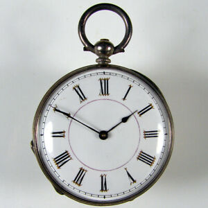 Small gents' or ladies' antique silver 38mm key wind and set pocket fob watch