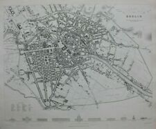 BERLIN CITY PLAN, GERMANY, original antique map, SDUK, 1844
