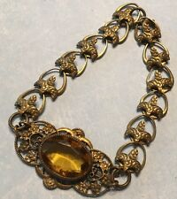 Vtg Yellow Topaz Glass & Brass Filigree Bracelet-Signed Pat Apl For-Estate
