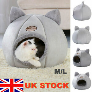 Cat Small Dog House Bed Kitten Pet Igloo Soft Fleece Cave Puppy Cozy Kitten Dome