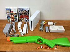 Nintendo Wii White Console RVL-001 w/ Cabela Activision Shotgun & 2 Games