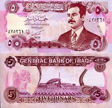 IRAQ 5 Dinars Banknote Saddam Hussein World Paper Money UNC Currency Pick p-80a