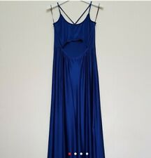 TOPSHOP Maxi Dress Blue Satit Front Cut out Day to Night Summer Holiday UK 12