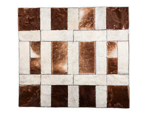 """Aydin Hand-Crafted Square Cowhide Patchwork Area Rug Hair-On Brown 5'11""""x6'7"""""""