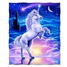 "Dawhud Direct Unicorn Kingdom Full/Queen Size Plush Fleece Blanket, 75"" x 90"""