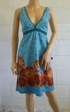Turquoise / Red / Multi AMARI Flower Print Cotton Sun Dress Size S