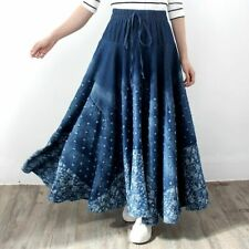 Ladies Long Skirt Elastic Waist Drawstring Elegant Style Maxi Wear Pleated Denim