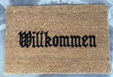 WILLKOMMEN German Doormat Hand-Painted Bavarian COIR Porch Entry Decor Door Mat