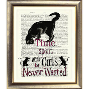 ART PRINT ON DICTIONARY BOOK PAGE CAT Mice MOUSE KITTEN Quote VINTAGE Picture