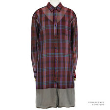 Dries Van Noten Claret Red Grey Double Layered Silk Tartan Shirt Dress FR38 IT42