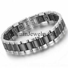 "13MM Men Stainless Steel Ceramic Magnetic Health Cuff Bangle Biker Bracelet 8.1"""