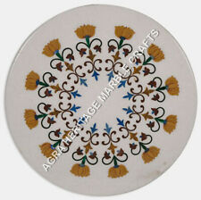 """18"""" Elegant White Round Marble Coffee Bedroom Table Top Floral Inlay Decor H5156"""