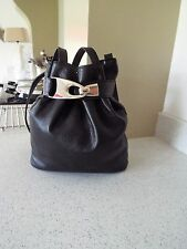 Vintage black leather slouch/hobo duffel style bag 80's fab condition