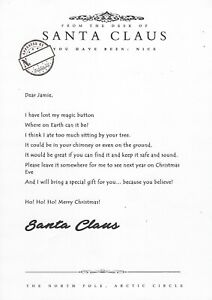 SANTA'S LOST BUTTON WITH PERSONALISED LETTER - CHRISTMAS EVE TRADITION KIDS
