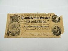 1864 $500 CONFEDERATE CIVIL WAR CURRENCY - STONEWALL JACKSON - POOR CONDITION