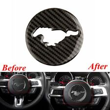 For Ford Mustang Real Carbon Fiber Steering Wheel Cover Trim Inner Decor Decal