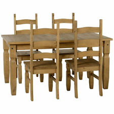 Distressed Waxed Pine Finish Dining Table and Chair Set with 4 Seats