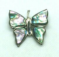 Vintage Alpaca Silver Abalone Butterfly Brooch Mexico Pin Inlay Stone Large