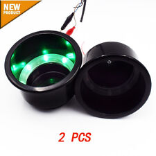 2PCS Black Plastic Cup Drink Holder With Green 8LED  Marine Boat Car Truck Well