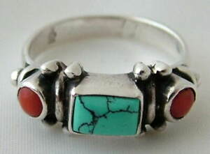VINTAGE NAVAJO ~ SIGNED ~ Sterling Silver TURQUOISE & CABACHON CORAL RING