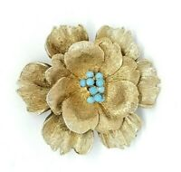 Blue Seed Bead Large Textured Flower Gold Tone Pin Brooch Vintage
