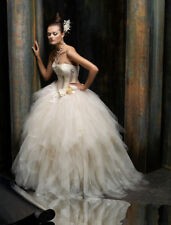 AUTHENTIC! St. Pucchi Isla Z256 Wedding Dress Strapless Ball Gown $6.5K Size 6