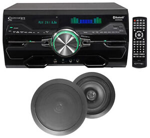 """DV4000 4000w Home Theater DVD Receiver+(2) 6.5"""" Black Ceiling Speakers"""