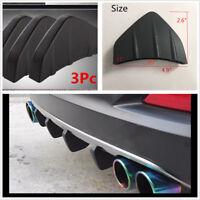 3Pcs Bumper Diffuser Molding Point Garnish Lip Under Splitter Black for All Car