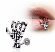 Stainless Steel Skull Internally Threaded Labret Lip Monroe Tragus Ring Stud Hot