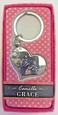 GRACE Camille heart silver color personalized KEYCHAIN BRAND NEW IN PACKAGE