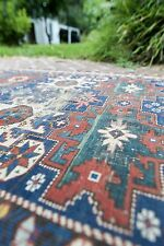 ANTIQUE MID 1800S SIGNED DATED SHIRVAN KAZAK STAR RUNNER RUG CARPET