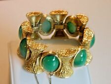 Panetta Vtg. Signed green  Cabochon And Gold Tone Textured Link Bracelet