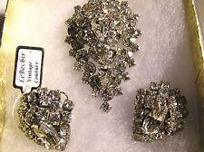 Vintage Silver Tone RUNWAY Large Marquise Rhinestone Clip-On Earrings & Brooch