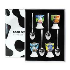 More details for eoin o'connor set of 4 cow design bone china egg cups and spoons boxed