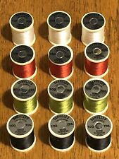12 Spools Danville 3/0 Fly Tying Thread, White, Red, Olive & Black