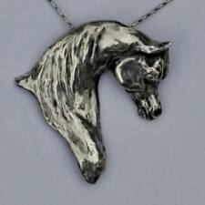 Arabian Horse Sculpture Fine Silver Charm Pendant Necklace Horse Jewelry