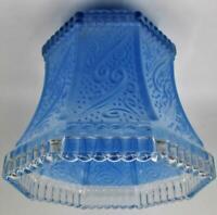 """Antique Glass Boudoir Lamp Shade Embossed Art Nouveau, Painted Blue 3/8"""" Center"""