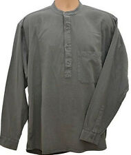 Grandad Shirts Kaboo Original Half Button 100% Cotton Grey + 9 other colours